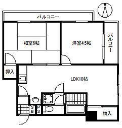 サンハイツ六甲[3階]の間取り