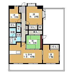 ウィステリア古庄 808号室[8階]の間取り