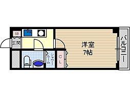 ターミナルズ茨木 5階1Kの間取り