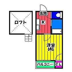 福岡県福岡市博多区那珂1の賃貸アパートの間取り