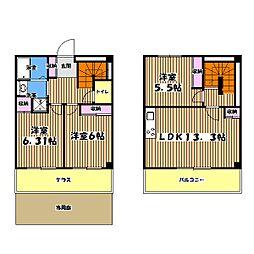 東京都八王子市宇津木町の賃貸アパートの間取り