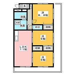 グランペレ[4階]の間取り