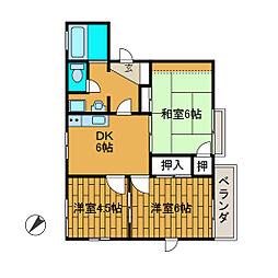 グレースハイムB[2階]の間取り