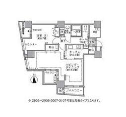 都営大江戸線 汐留駅 徒歩4分の賃貸マンション 27階1LDKの間取り