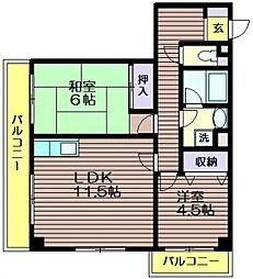 東京都世田谷区千歳台4の賃貸マンションの間取り