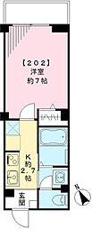 東京メトロ南北線 白金高輪駅 徒歩5分の賃貸マンション 2階1Kの間取り