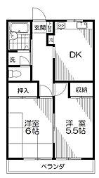 東京都小平市花小金井5丁目の賃貸アパートの間取り