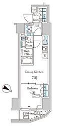 東京メトロ千代田線 赤坂駅 徒歩3分の賃貸マンション 12階1DKの間取り