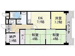 北大阪急行電鉄 桃山台駅 徒歩18分の賃貸マンション 2階3SLDKの間取り