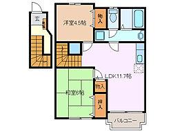三重県四日市市垂坂新町の賃貸アパートの間取り
