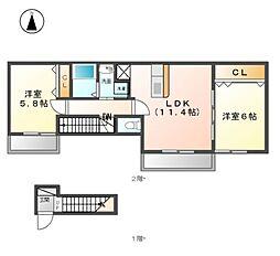 愛知県清須市春日寺廻りの賃貸アパートの間取り