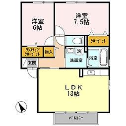 兵庫県神戸市西区玉津町二ツ屋1丁目の賃貸アパートの間取り