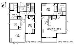 東急多摩川線 下丸子駅 徒歩5分の賃貸一戸建て 1階3LDKの間取り