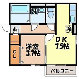 長崎県諫早市多良見町木床の賃貸アパートの間取り