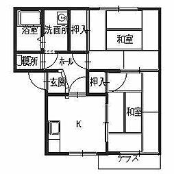 兵庫県小野市二葉町の賃貸アパートの間取り