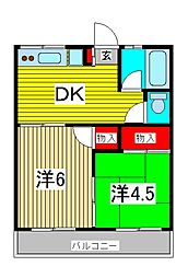 コーポ栄第2[1階]の間取り