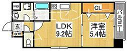 グランメゾンピア 2階1LDKの間取り