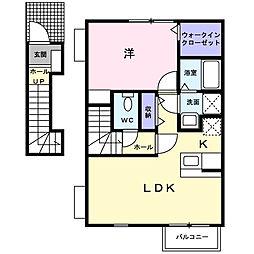 千葉県野田市中野台の賃貸アパートの間取り
