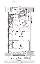 都営新宿線 浜町駅 徒歩13分の賃貸マンション 3階1DKの間取り