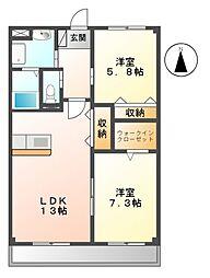 シャトー下米田[2階]の間取り