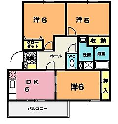 ニューエルディム伊藤A[1階]の間取り