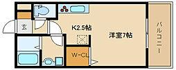D-room河内国分 2階1Kの間取り