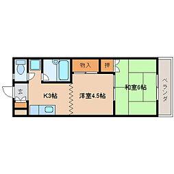 近鉄天理線 天理駅 バス5分 守目堂下車 徒歩6分の賃貸アパート 1階2Kの間取り