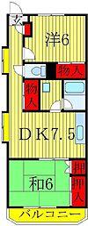 千葉県松戸市日暮4丁目の賃貸マンションの間取り