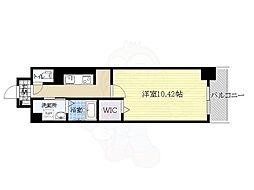 阪急千里線 南千里駅 徒歩14分の賃貸マンション 2階1Kの間取り