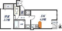 アリスコート・バンブー 1階1DKの間取り
