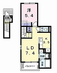 カーサルミエール[2階]の間取り