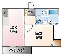 アイエフハイツ甲子園[2階]の間取り