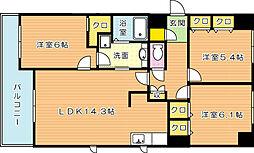 福岡県北九州市八幡西区則松1丁目の賃貸マンションの間取り