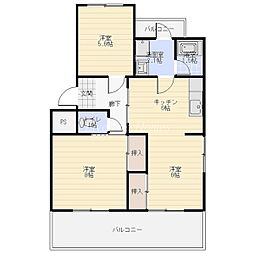 ハイツ福寿園 1[3階]の間取り