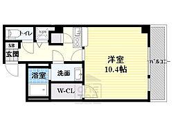 JR大阪環状線 桜ノ宮駅 徒歩1分の賃貸マンション 4階1Kの間取り