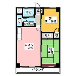 フォーブル三里[2階]の間取り