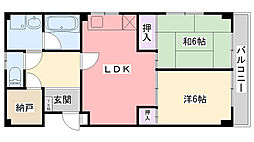 兵庫県尼崎市元浜町5丁目の賃貸マンションの間取り