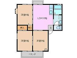 三重県四日市市南坂部町の賃貸アパートの間取り