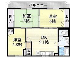 フルーエント4 3階3DKの間取り