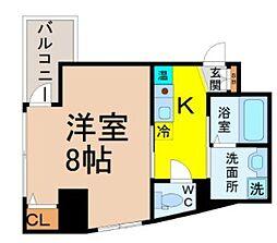 名古屋市営桜通線 国際センター駅 徒歩8分の賃貸マンション 8階1Kの間取り