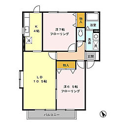 ボヌールA[2階]の間取り