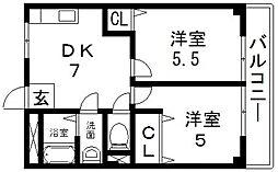 サンライフ小阪[604号室号室]の間取り