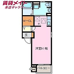 近鉄名古屋線 近鉄四日市駅 徒歩11分の賃貸アパート 1階ワンルームの間取り