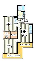 アルファタウン天王台E[1階]の間取り