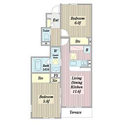 宮園3丁目B棟計画 1階2LDKの間取り