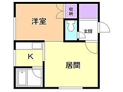 コートハウス愛宕B棟 2階1LDKの間取り