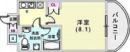 クレストコート神戸・灘 6階1Kの間取り