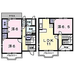 JR山陽本線 明石駅 バス25分 宮下南下車 徒歩2分の賃貸アパート 1階3LDKの間取り