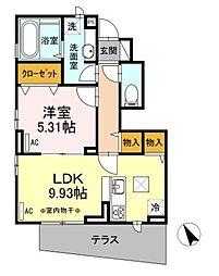 東武伊勢崎線 梅島駅 徒歩4分の賃貸アパート 1階1LDKの間取り