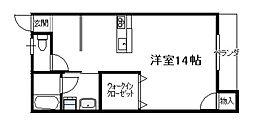 第1ピノキオコーポ(1R)[東201号号室]の間取り
